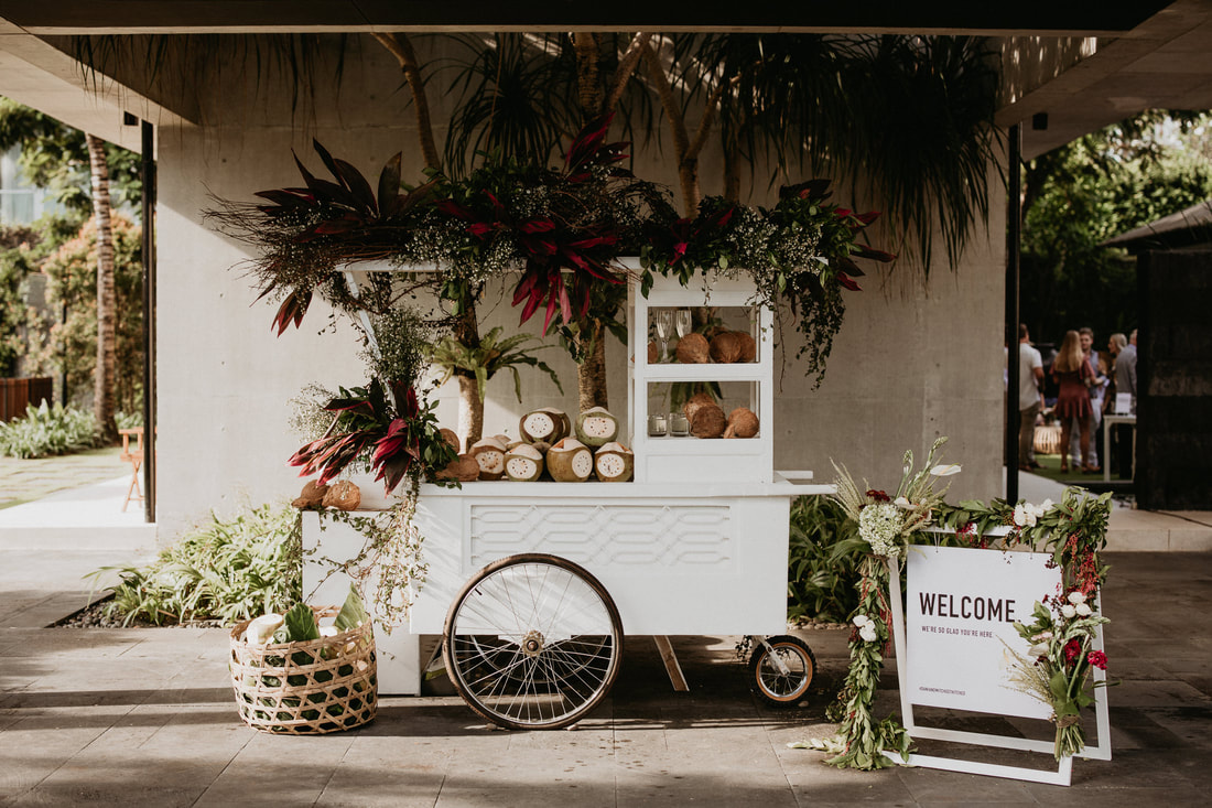 Coconut cart for serving welcome drinks for wedding guests