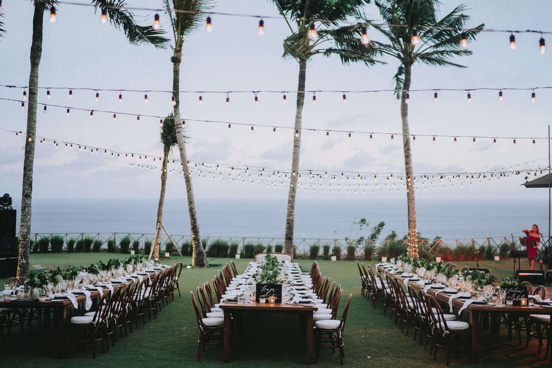 Wedding reception setup in a clifftop villa